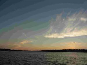 マカタワ湖からの夕陽